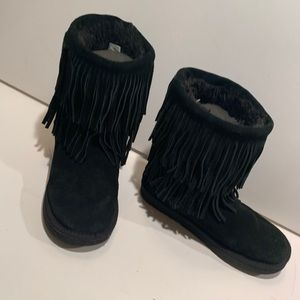 American rag black suede fringed boots